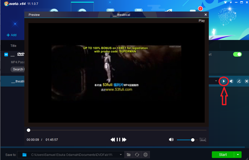 video preview window